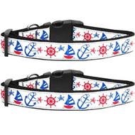 Anchors Away Nylon Ribbon Dog Collar