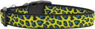 Blue & Yellow Leopard Nylon Ribbon Dog Collar