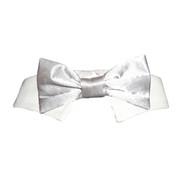Silver Satin Dog Bow Tie