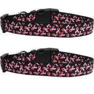 Black Pink Ribbons Dog Collar