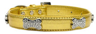 Metallic Crystal Bone Dog Collar- Gold