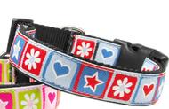Blue Stars and Hearts Nylon Dog Collar