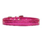 10mm Pink Metallic Two Tier Dog Collar