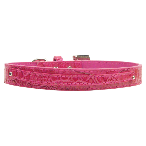 10mm Two Tier Pink Faux Croc Dog Collar