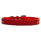 10mm Two Tier Red Faux Croc Dog Collar