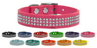 Three Row Jewelled Leather Dog Collar