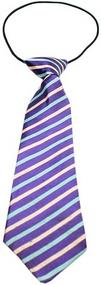 Purple and Aqua Stripes Dog Neck Tie