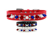 Red, White and Blue Spike and Bling Dog Collar
