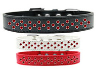 Rim-Set Red Crystal Dog Collar