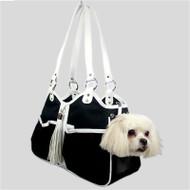 Metro Classic Black & White Tassle Dog Carrier