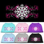 Pink Snowflake Swirls Dog T-Shirt