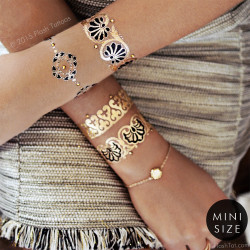 Classic gold and black tattoo bracelets from the new Aurelie collection from Flash Tattoos with Swarovski crystals. @FlashTattoos #flashtat