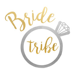 The 'BRIDE TRIBE RING' wedding inspired metallic Flash Tattoos party tat set is the ultimate way to show your love for the bride to be!  Fun addition to bachelorette parties or bridal showers!  #FLASHTAT @FlashTattoos