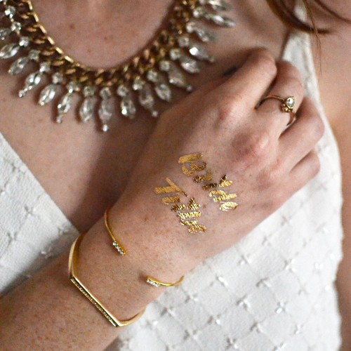 Be a proud member of the 'Bride Squad', just one of the 3 designs included in the 'Bridesmaids Variety Set' of metallic tattoos.  @FlashTattoo #FLASHTAT