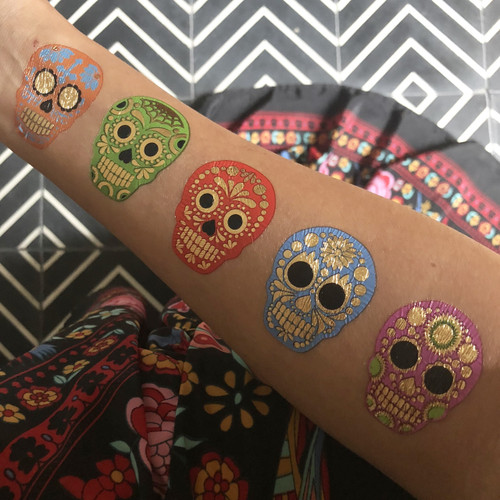 Sparkle and shine in the colorful 'Sugar Skulls De Colores Variety Set'!  @FlashTattoo #FLASHTAT