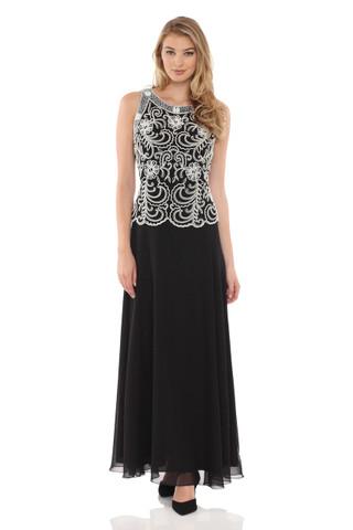 JKARA Embellished Bodice A-Line Chiffon Dress with Scarf