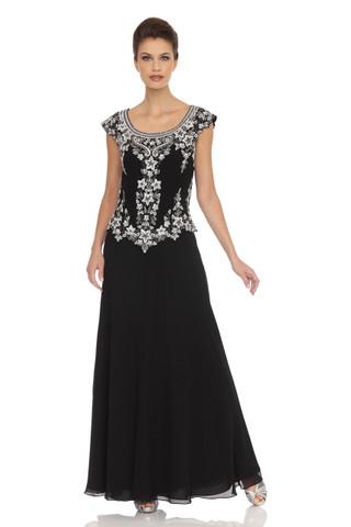 JKRA Cap-Sleeve Embellished Bodice Dress