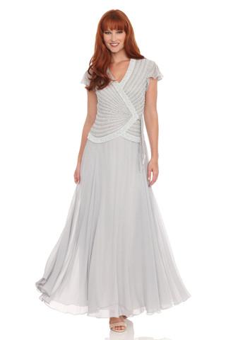 JKARA Silver Embellished Mock Two-Piece Dress