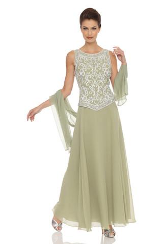 JKARA Embellished Chiffon Dress with Shawl