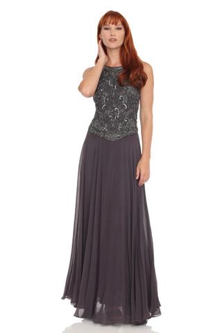 JKARA Sleeveless Beaded Chiffon Dress