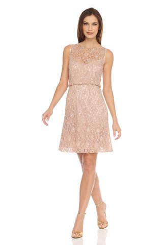 Blouson Lace Beaded Dress