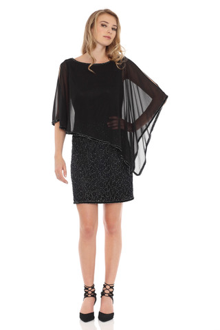 Asymmetrical Caplet Beaded Dress