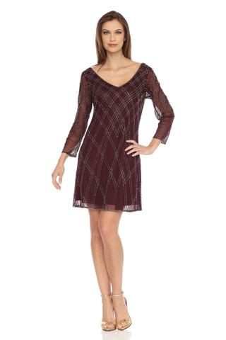 Sheer sleeves & V-neck Dress