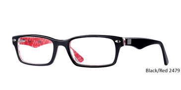 Black/Red RayBan Eyeglasses 0RX5206 - All Colors.