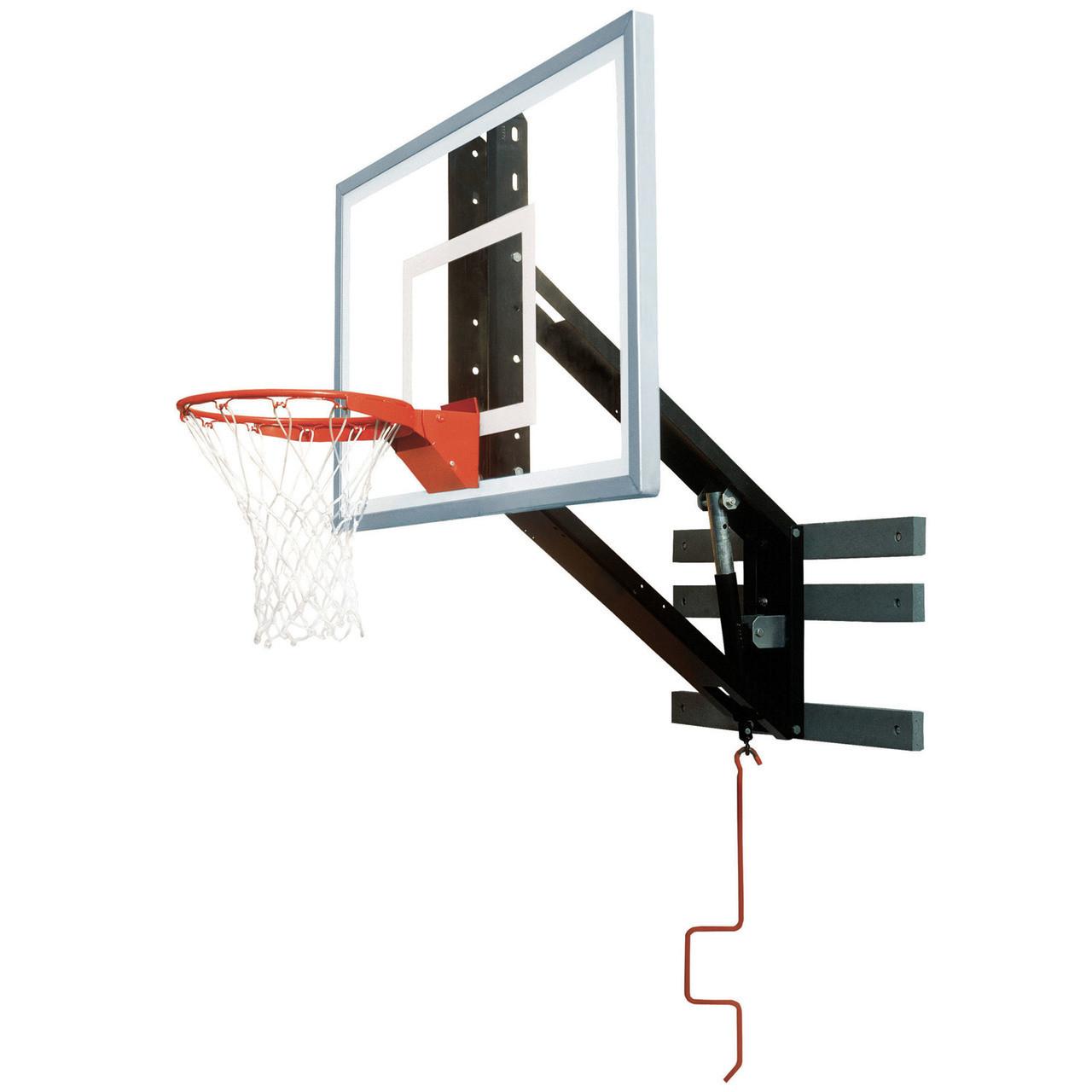 Bison PKG300 Zip Crank Wall Mounted Adjustable Basketball Hoop ...