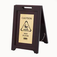 RCP1867507 | Rubbermaid Commercial Executive 2-Sided Multi-Lingual Wooden Caution Sign, Includes one sign.