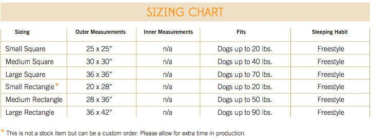 Jax and Bones Pillow Bed Size Guide