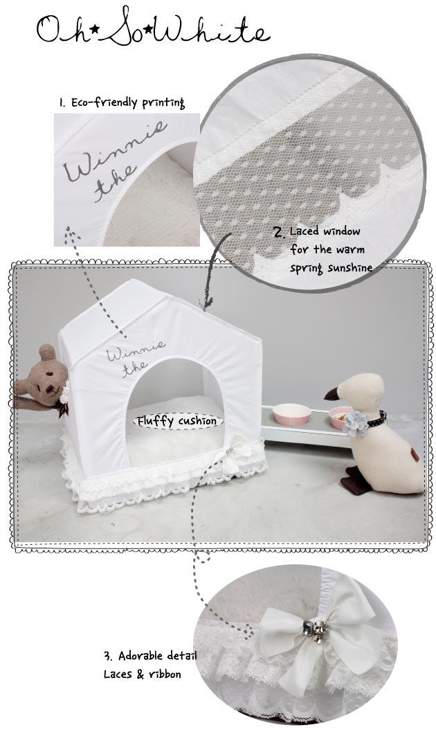 Louisdog Oh So White Peekaboo Dog House Bed