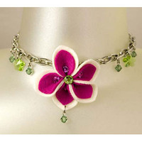 Felt & Crystal Flower Pendant Necklace