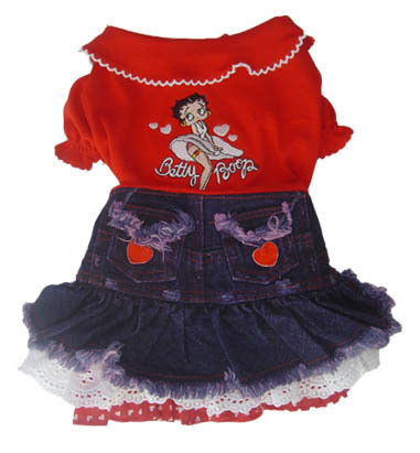 Betty Boop Lace Heart Denim Dress