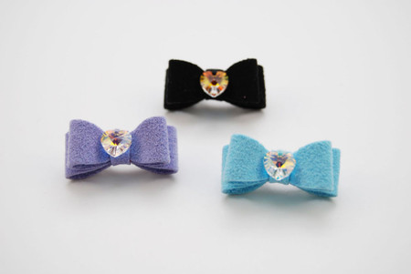Crystal Heart Ultrasuede Hair Bows