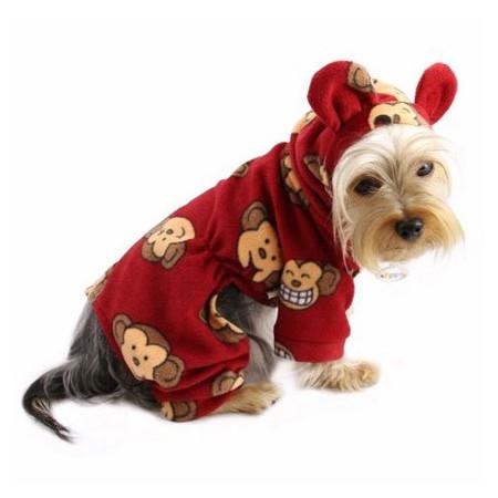 Silly Monkey Fleece Pajamas (Red)