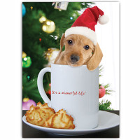 Dachshund Coffee Cup Holiday Card