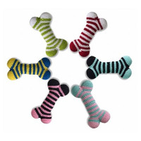 Crochet Striped Bone Dog Toy
