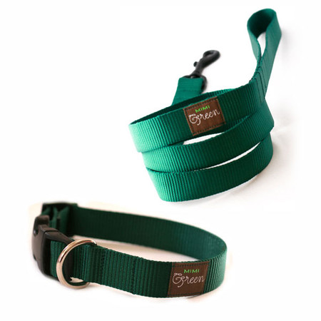 Mimi Green Webbing Collars & Leads