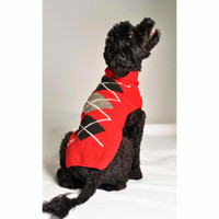 Red Argyle Dog Sweater
