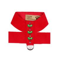 Susan Lanci Christmas Holly Ultrasuede Dog Harness
