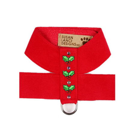 Susan Lanci Christmas Holly Ultrasuede Dog Harness