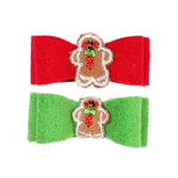 Susan Lanci Gingerbread Man Ultrasuede Dog Bow