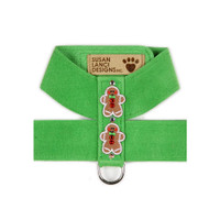 Susan Lanci Gingerbread Man Ultrasuede Dog Harness
