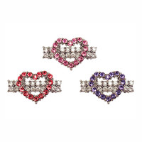 Crystal Heart Barrettes