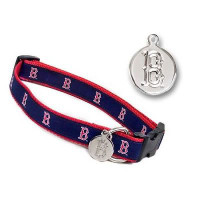 Boston Red Sox Dog Collar with ID Tag