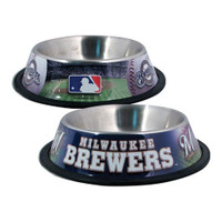 Milwaukee Brewers Stainless Steel Dog Bowl