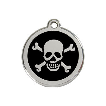 Skull & Crossbones Stainless Steel Enamel ID Tag