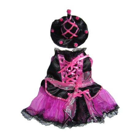 Pink Pom Pom Witch Dog Costume
