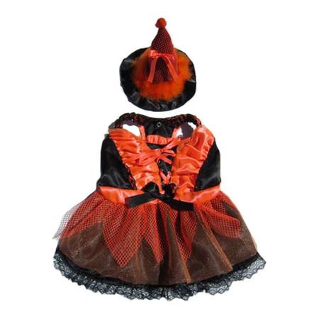 Orange & Black LED Witch Dog Costume